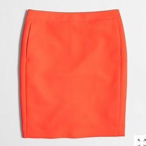 J. Crew Factory Crepe Pencil Skirt Sz 10 Orange